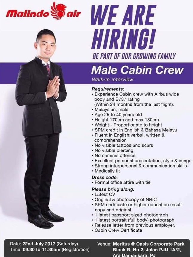 fly gosh: malindo air cabin crew recruitment - walk in interview