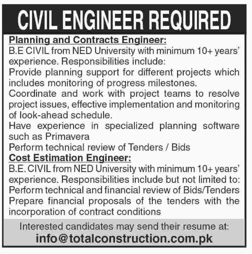 Civil Engineers wanted in Total construction in  Karachi