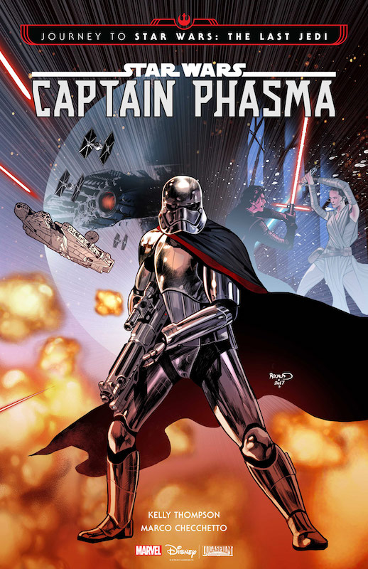 Journey to Star Wars: The Last Jedi - Captain Phasma Story: Kelly Thompson Art: Marco Checchetto Colors: Andres Mossa Letters: Clayton Cowles Covers: Paul Renaud  Star Wars created by George Lucas. Captain Phasma created by J. J. Abrams.