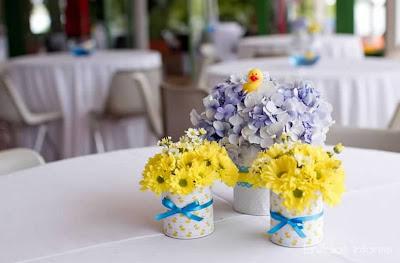Resultado de imagem para lata decorada centro de mesa casamento