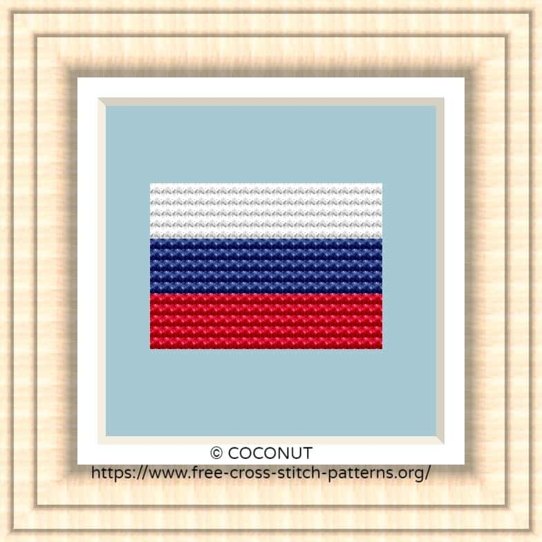 NATIONAL FLAG OF RUSSIA CROSS STITCH CHART