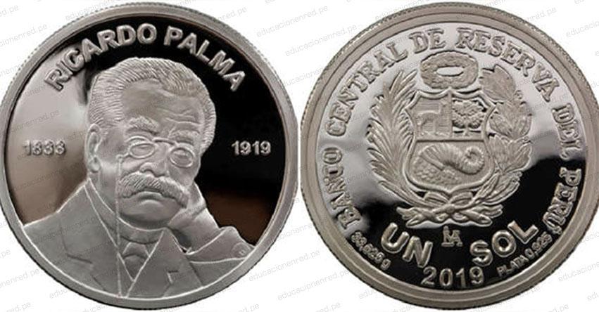 BCR lanza moneda alusiva al centenario del fallecimiento de Ricardo Palma (Circular Nº 0025-2019-BCRP)