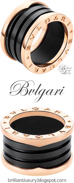 Bvlgari B.zero1 4-band 18 k rose gold ring with black ceramic #jewelry #brilliantluxury