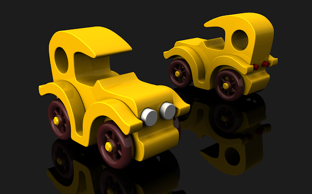 Bad Bob's Custom Motors Wooden Toy Cars Yellow