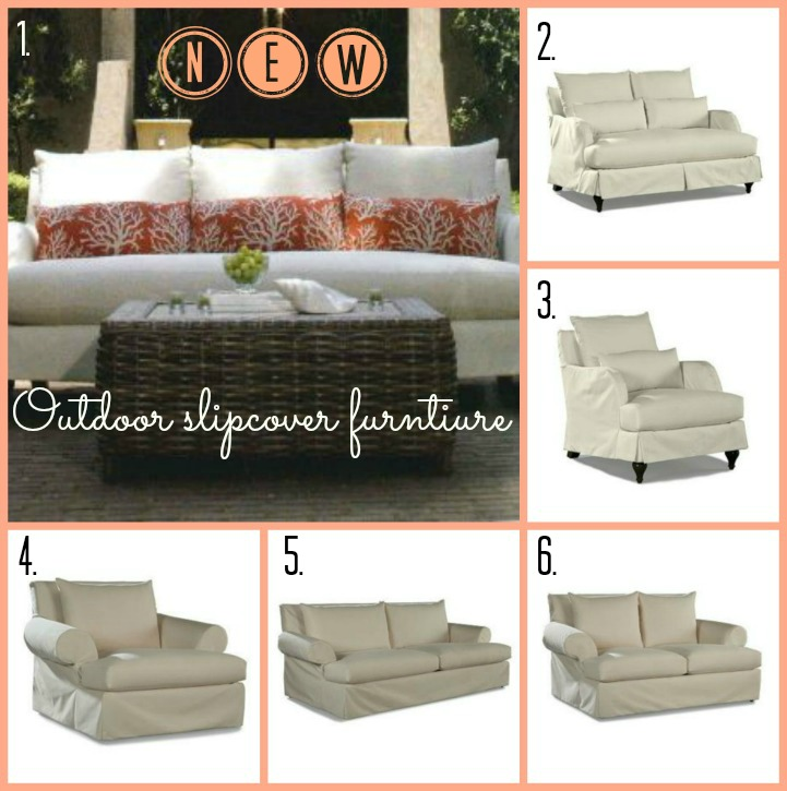 Coastal outdoor slipcover furniture