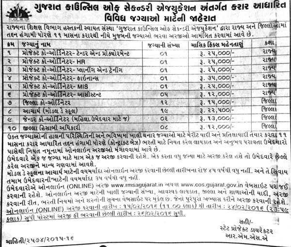 GCSE, Gandhinagar various Recruitment 2016 - InfoGuru24