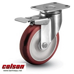 Bánh xe đẩy inox vật liệu bánh xe PU đỏ | 2-4456-944-BRK4, bánh xe nhựa PU