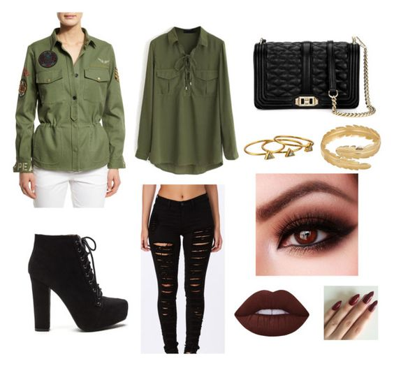 look casual, military jacket