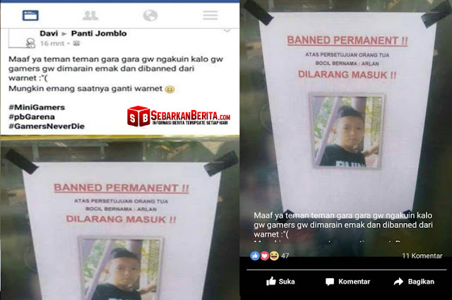Bocah Ini Kena banned Permanent Di Warnet Atas Permintaan Orang Tuanya. Fotonya Mendadak Jadi Viral di Sosmed.
