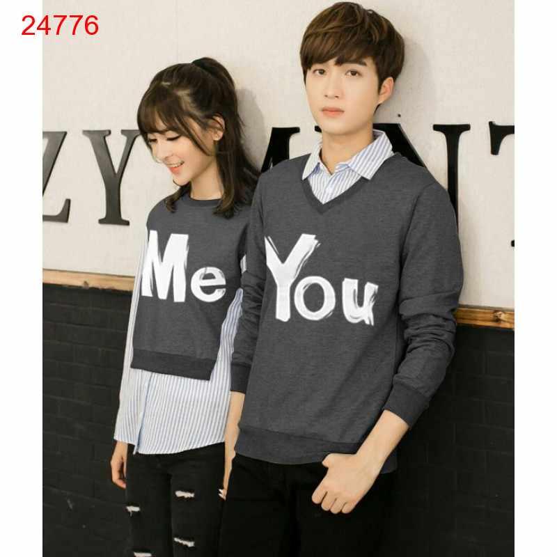 Jual Sweater Couple Sweater You Me Kombinasi Grey - 24776