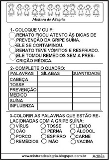 Atividades escolares sobre o H1N1