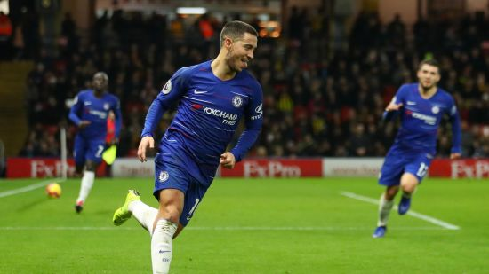 Eden Hazard Celebrates With teammates against Watford