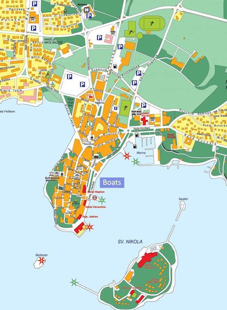 Mapa de Porec, Istria, Croacia