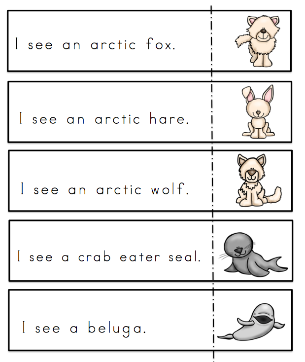 arctic animals sentences preschool printables. Black Bedroom Furniture Sets. Home Design Ideas