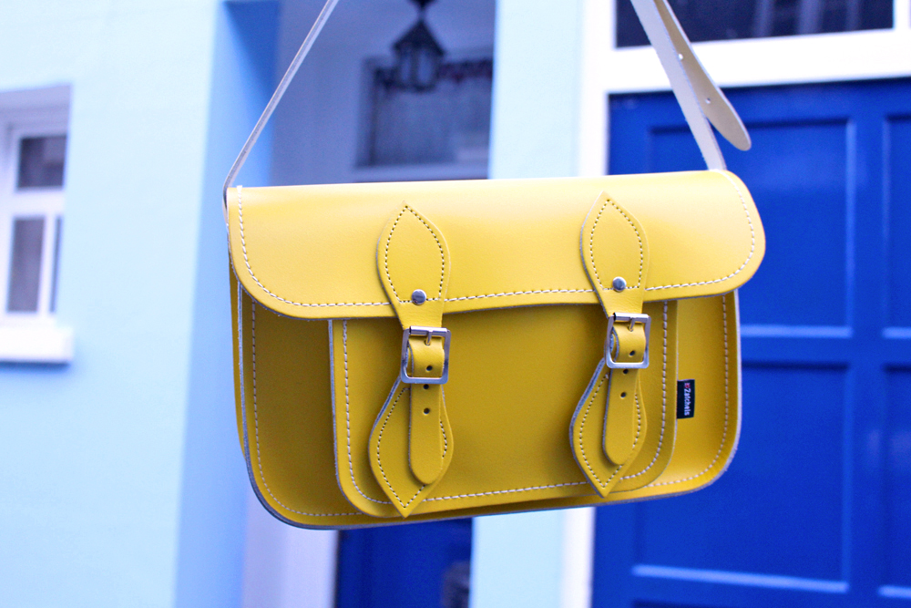 Yellow leather Zatchels bag - London style blogger