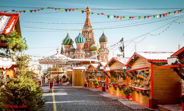 Mercatino di Natale a Mosca Russia nella Piazza rossa