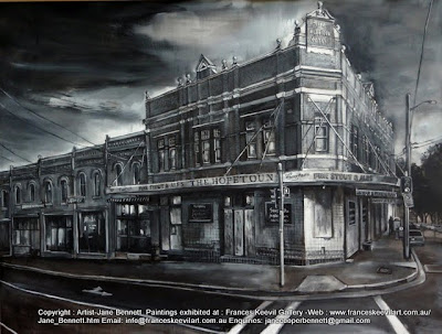 Plein air ink painting of  the derelict abandoned Hopetoun Hotel in Surry Hills painted by industrial heritage artist Jane Bennett