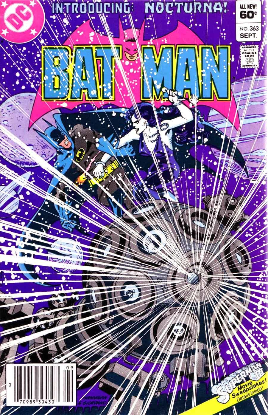 Batman #363 dc 1st nocturna 1980s comic book cover