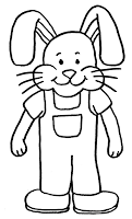 Black and white bunny wearing overalls clip art