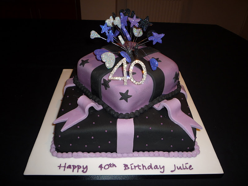 2 Tier Purple And Black Present Cake My Lovely Jubbly Friend Julies 40th Birthday