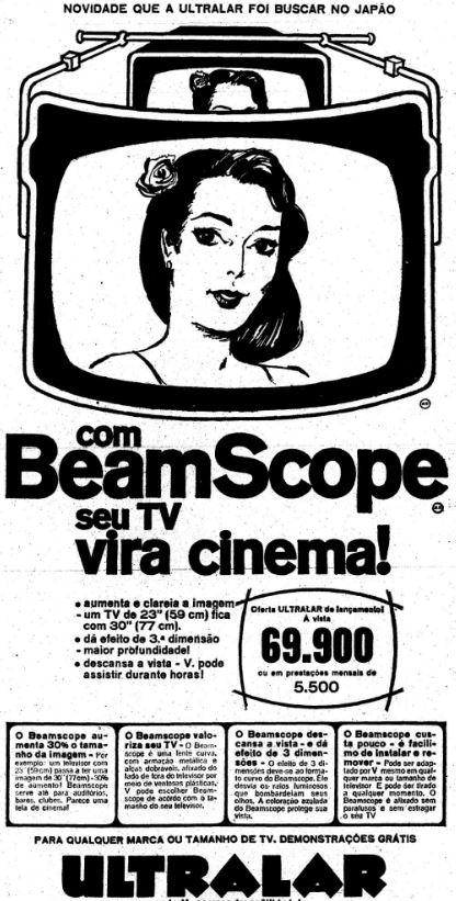 Propaganda do BeamScope, nos ano 60 vendido pela Ultralar: ampliar imagem da TV e efeito 3D