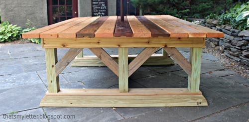 That S My Letter Diy Outdoor Trestle Dining Table