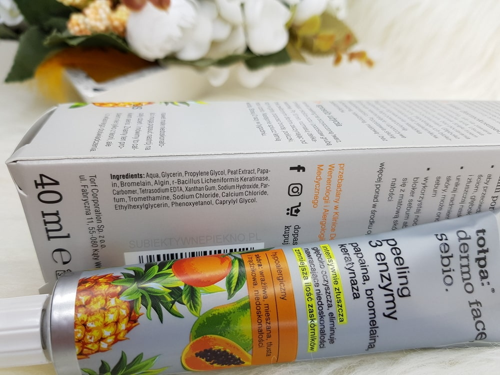 Peeling 3 enzymy Tołpa skład, opinie, blog