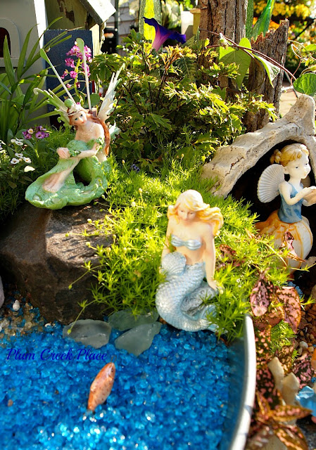 Mermaid  Fairy Garden, Raised container Gardening,