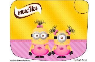 Etiqueta Nucita de Minions Chicas para imprimir gratis.