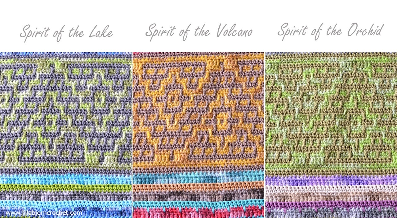 Spirits of Life Wrap CAL: Part 7. Mosaic crochet Pyramids. Designed by www.lillabjorncrochet.com in collaboration with Scheepjes