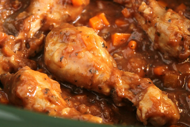Fall Off The Bone Braised Chicken Legs with Sauce in the Slow Cooker