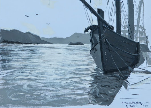 Johanne Morin's Art in the Making: 5-value study of the Nina ship in Newburg