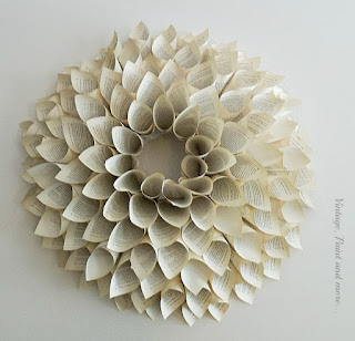 Vintage Paint and more... a wreath made by forming cones with old book pages