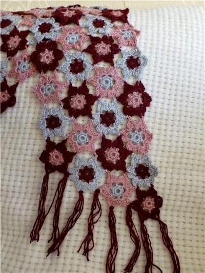 Bufanda con Motivos de Estrella en Crochet.Tutorial