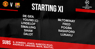 Starting 11 of Manchester United vs FC Barcelona at Old Trafford