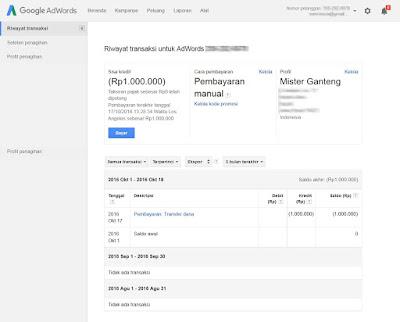 Proses akhir transfer dana dari BCA ke Adword Google