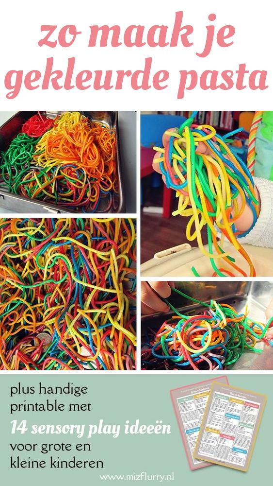 pasta kleuren met kleurstof
