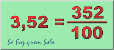 Número 3,52 em sua forma decimal e em sua forma fracionária