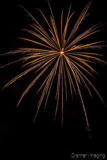 Cramer Imaging's fine art photograph of a single firework in the night sky on the 4th of July