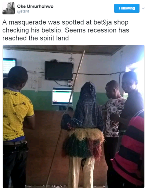 Masquerade Storms Bet9ja Office To Check His Betslip (Photo) - Gistmania