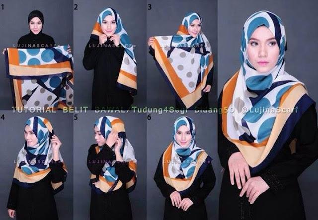 Jilbab segi empat kreasi elegan