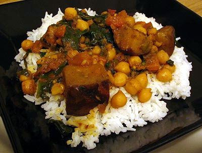 Baked Gingered Chickpea Stew with Eggplant and Spinach