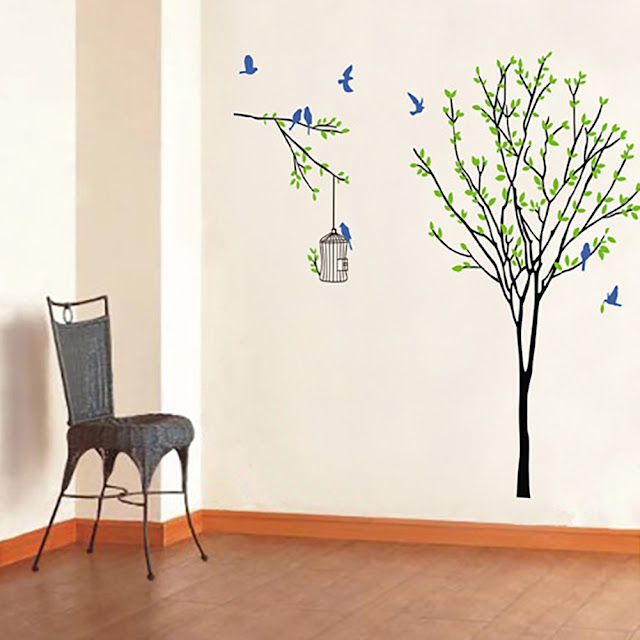 Colorido Birds Cage Tree Green Leaves Wall Sticker
