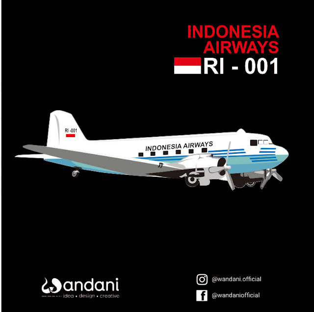 Pesawat RI-001 Indonesia Airways - Free Vector