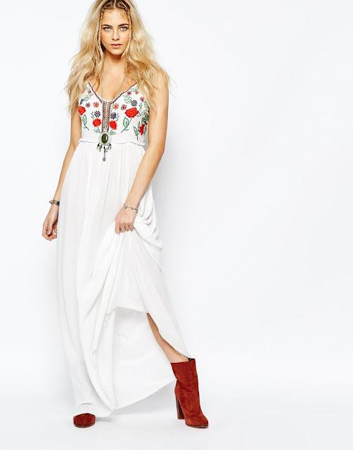 boohoo folk maxi dress, folk embroidered maxi dress,
