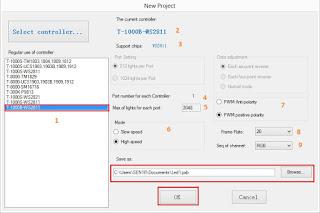 LED Edit Select Controller window
