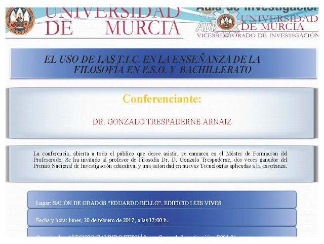 """Conferencia: """"El uso de las TIC en la enseñanza de la Filosofía en ESO y Bachillerato""""."""