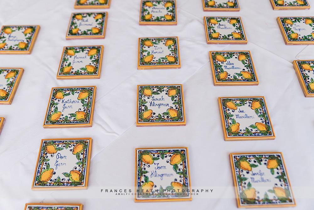 Hand painted ceramic placecards