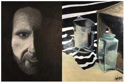 """L-R:""""Self Portrait"""", untitled still life"""