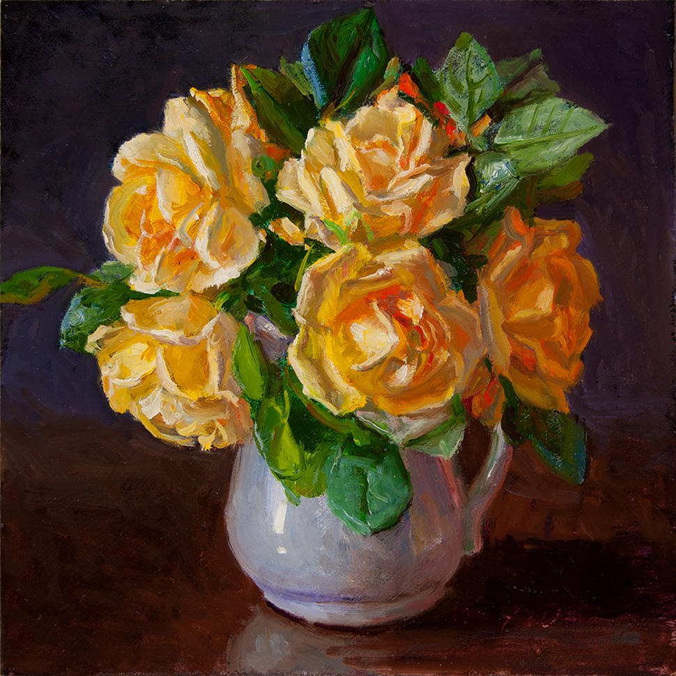 Wang Fine Art Yellow Rose in a Vase Still Life Painting a Day Flower